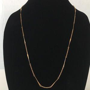 Vintage Avon Twist Bar & Chain Necklace Gold Tone